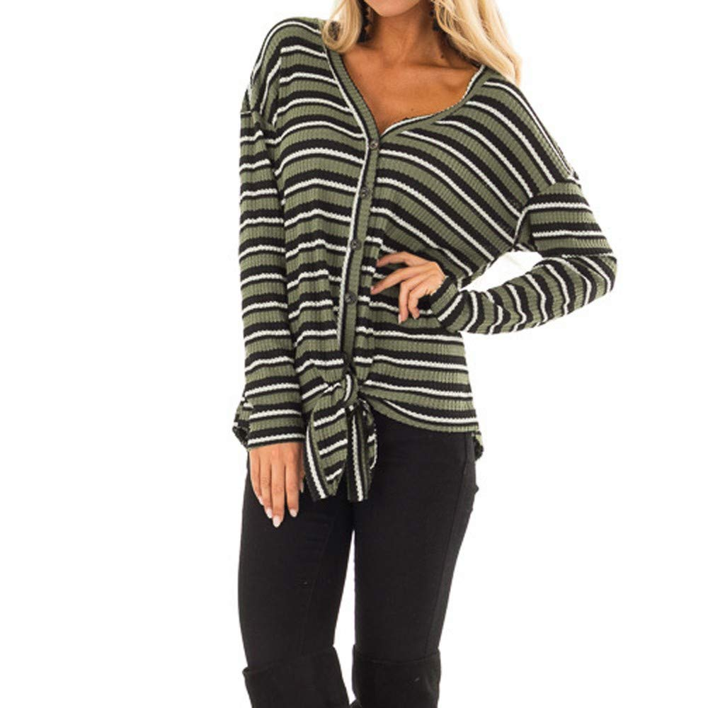 Laimeng/_World Womens Striped Knitted Button Blouse V Neck Long Sleeve Top Shirt