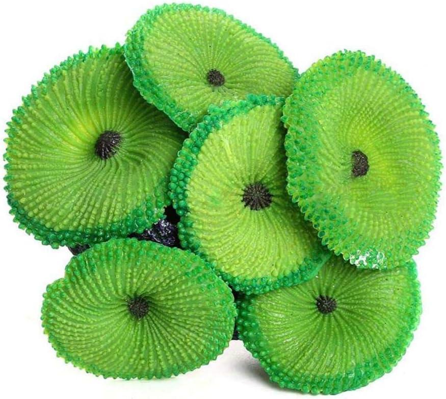 Ornamento Planta Decoración Artificial Resina Coral Sea de Silicona no tóxico, Verde, S