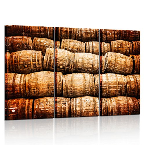 Vintage Wooden Barrel - Kreative Arts Large 3 Pieces Canvas Prints Wall Art Stacked Pile Of Old Vintage Whisky And Wine Wooden Barrels Picture Printed On Canvas For Home Modern Decoration 16x32inchx3pcs