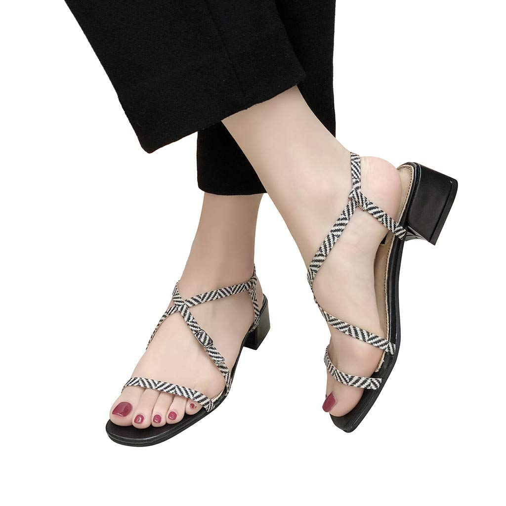Hot Women Square High Heel Sandals Belt Buckle Shoe Summer Outdoor Beach Open Toe Roman Sandals US:5-7 (Balck, 6)