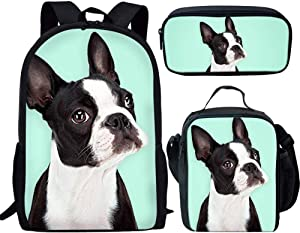 Coloranimal 3 Pcs/Set School Bag Set for Teenager Girls Boys Funny Boston Terrier Pattern Large Capacity Shoulder Rucksacks
