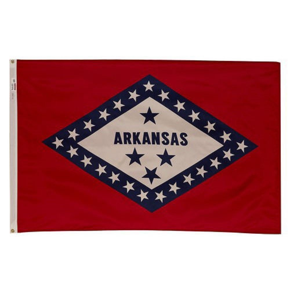 3x5 Embroidered Sewn State of Arkansas Synthetic Cotton Flag 3/'x5/' 2 Clips
