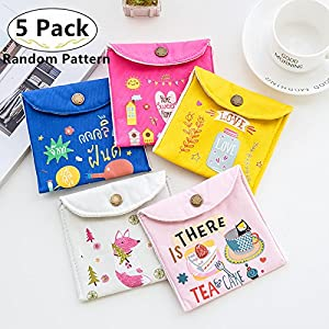 5 Pack Sanitary Napkins Bags, Carnatory Nursing Pad Holders Menstrual Cup Pouches Washable Storage Organizer for Menstrual Pads Sanitary Napkin Maternity Mama Pads
