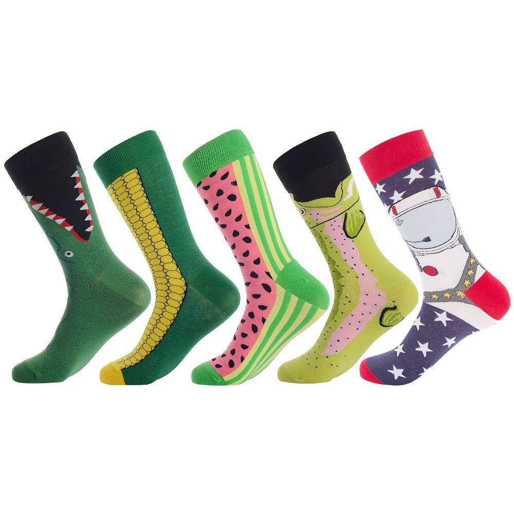 Men's Fun Dress Socks,Colorful Pattern Crazy Novelty Funny Art Dress Socks Pack Funky Crew Socks by Bonangel,Christmas Gift (Corn)