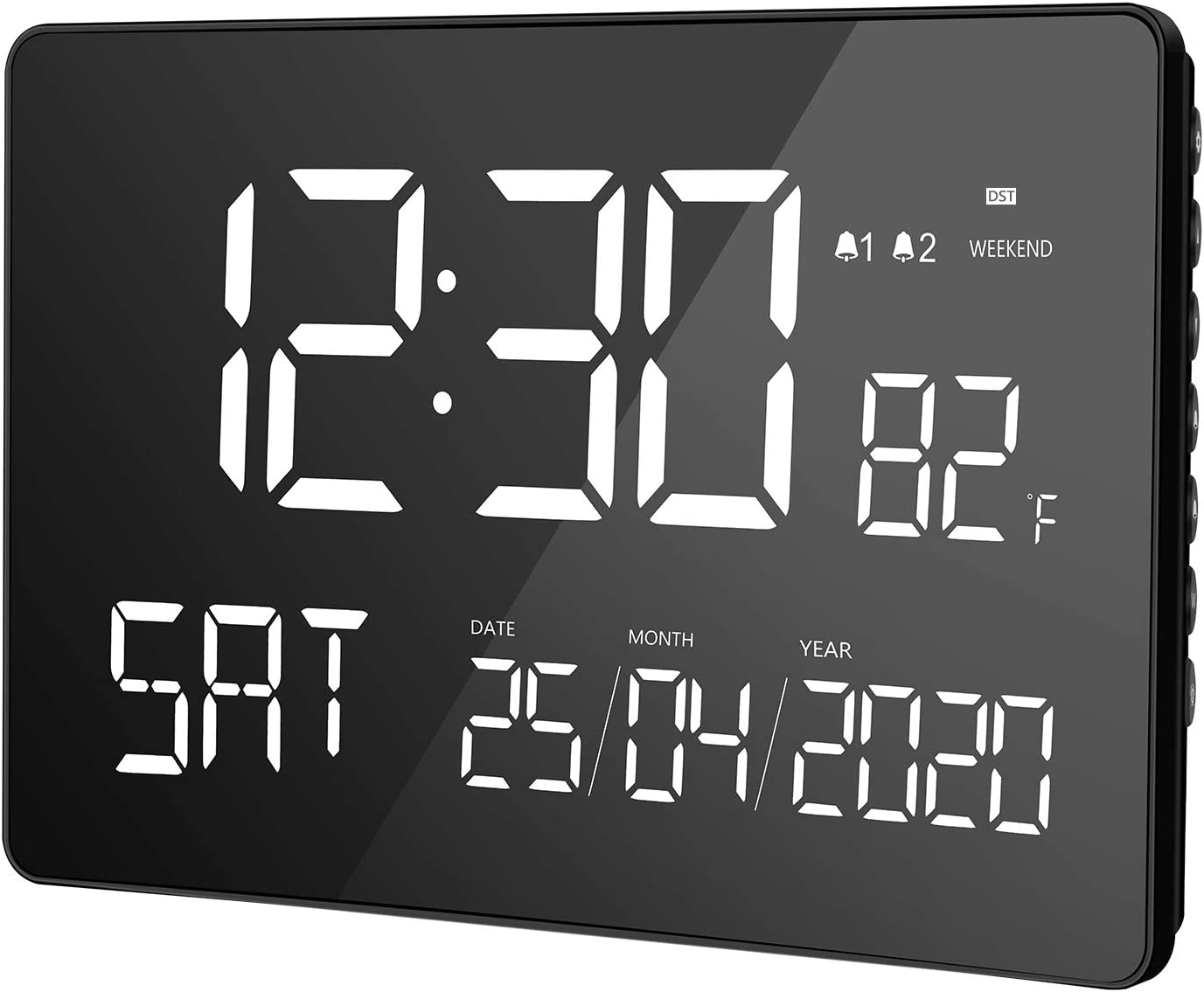 """LIORQUE Digital Alarm Clock, 11.2"""" Large Curved Dimmable LED Screen, Digital Day Clock with Dual Alarms, Calendar, Weekend Mode, Indoor Temperature, 12/24H, DST for Senior"""