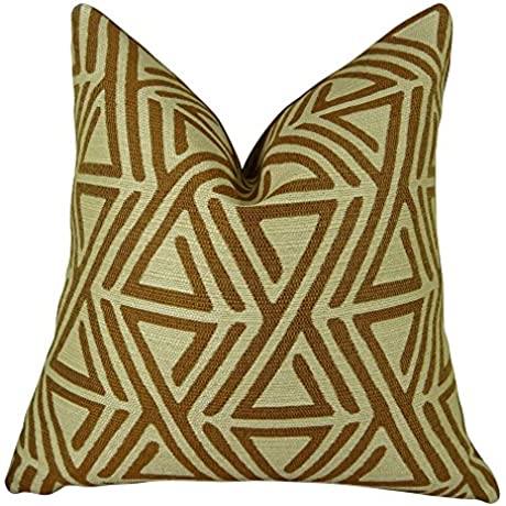 Plutus Brands Plutus Triangle Maze Handmade Throw Pillow 20 X 36 King Cream Brown