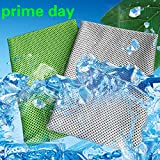 [2 Pack] Cooling Towel, Cool Towel for Instant Cooling Relief, Ice Cold Scarf For Men Women, Chilly Towel, Stay Cool for Travel,Sports, Fitness, Gym, Yoga, Golf, Pilates, Camping & More Gray+Green