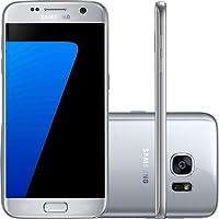 Smartphone Samsung Galaxy S7 desbloqueado, acabamento em metal e vidro 3D, câmera 12MP Dual Pixel, processador Octa-Core 2.3GHz e proteção IP68 - Prata