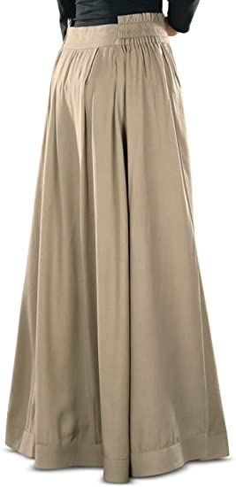 MyBatua Womens Adilah Rayon Long Skirt in Khaki