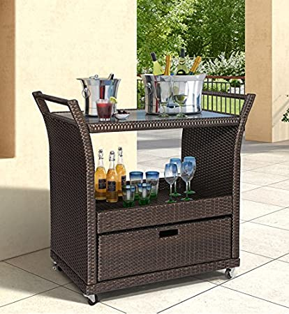 Wonderful Ulax Furniture Outdoor Patio Wicker Serving Bar Cart In Brown