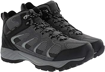 Khombu Tyler Mens Leather Hiking Outdoor Tactical Boots -Black/Grey
