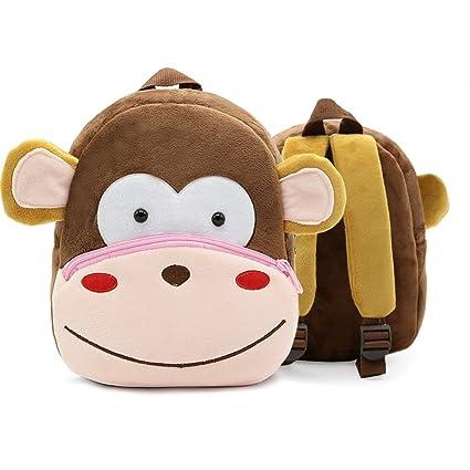 XLHMILY Mini dibujos animados 3D Mochila Infantiles Niños mochila animal mono unicornio mochila algodón de jardín