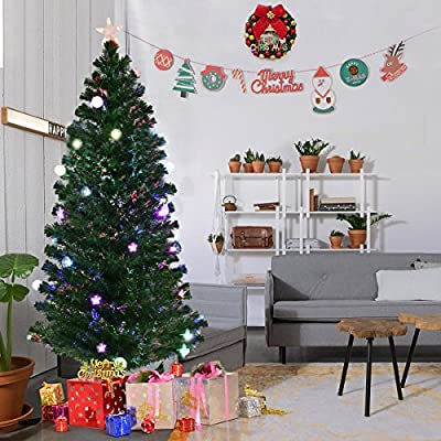 goplus 6ft fiber optic christmas tree pre lit artificial fireworks spruce tree w multicolor led lights top star blossom bell decorations