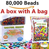 Water Beads Pack 12 OZS (80000 beads) Rainbow Mix Jelly Water Growing Balls for Orbeez Spa Refill,Sensory Toys, Vases, Wedding and Home Decoration
