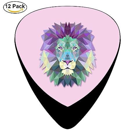 Púas para guitarra eléctrica de celuloide con cabeza de león de poligonal, pack de 12