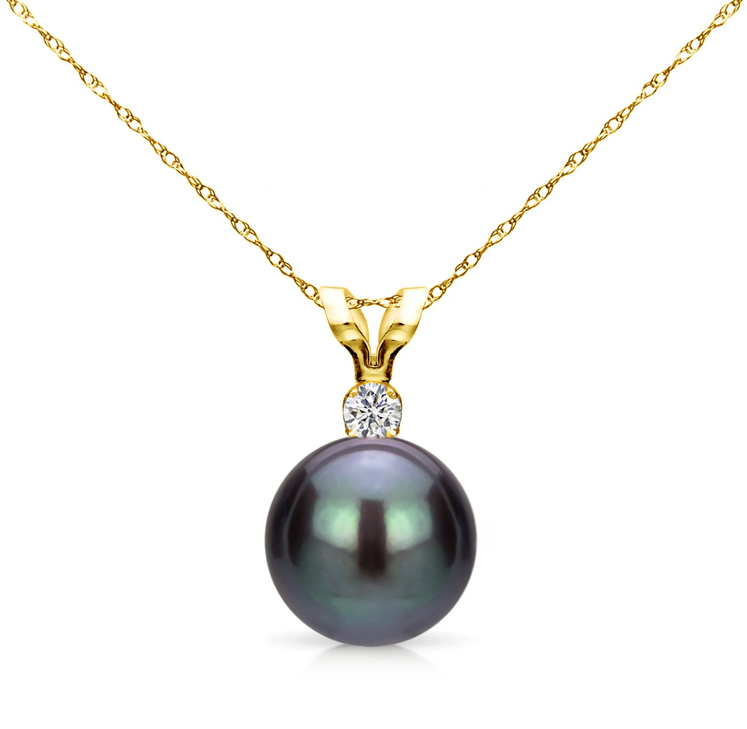 14k Yellow Gold 7-7.5mm Dyed-black Round Freshwater Cultured Pearl Bunny Pendant 1/100cttw Diamond, 15''