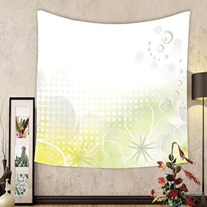 Gzhihine Custom Tapestry Grey And Yellow Tapestry Abstract 60s 50s Inspired  Home Decor Polka Dots Image