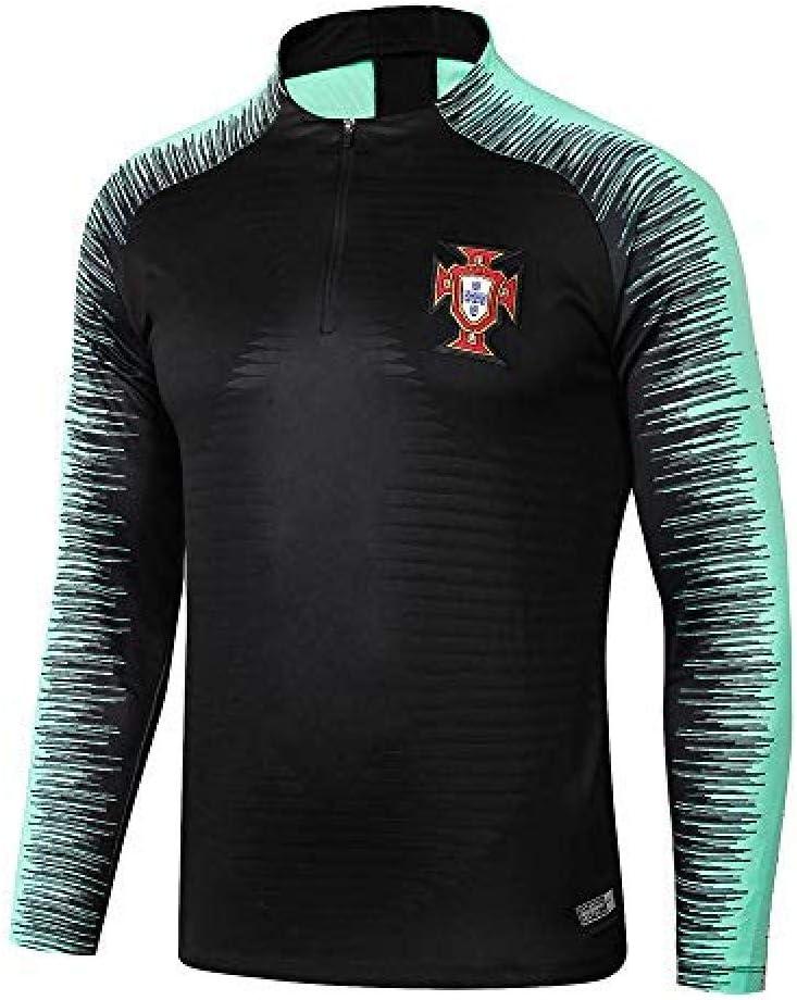 WJWA Portugal Costumes d entra/înement /à Manches Longues Accueil Uniformes par /équipe Football Uniformes Demi-Fermeture /Éclair Chandail Warm-Up Suit@Photo/_Color/_M