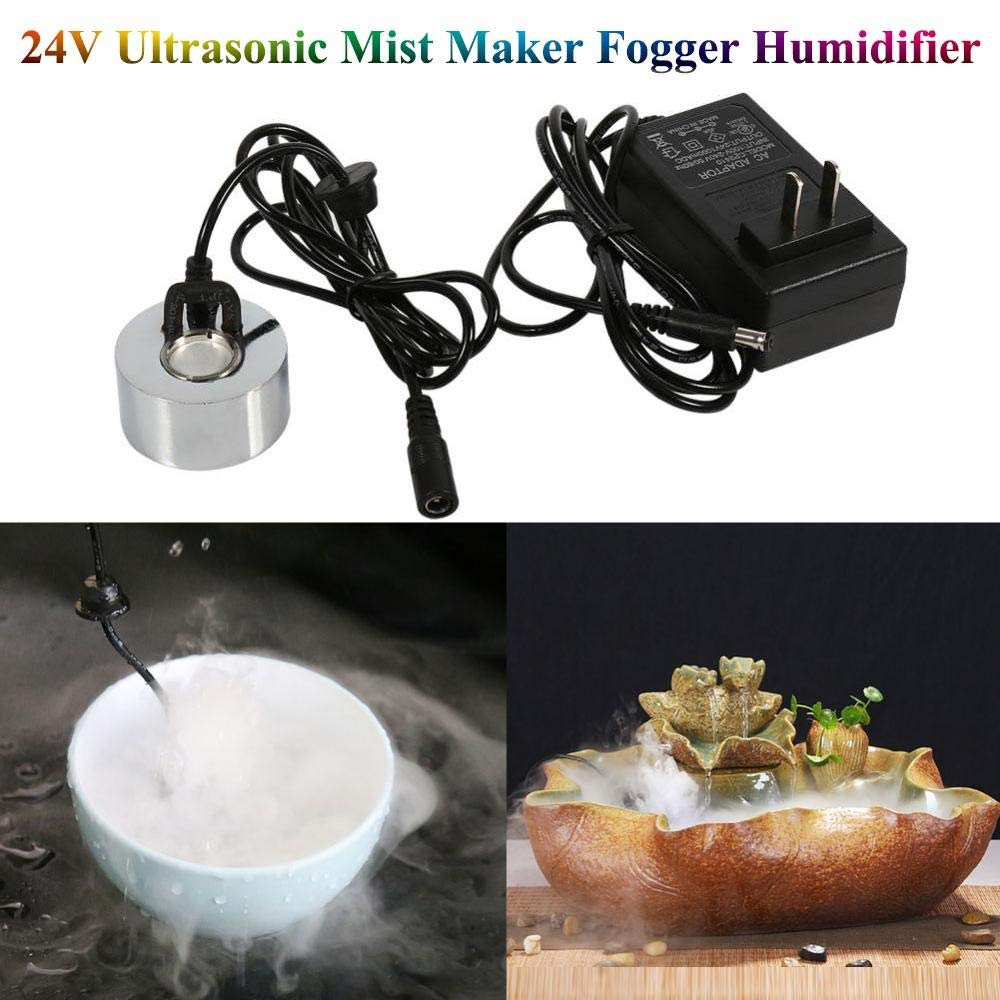 Mini Size Large Capacity of Mist,with Splash Guard 24V LED Mister Maker Fogger Water Fountain Pond Fog Machine Atomizer Air Humidifier Perfect for Halloween and Other Holidays US Plug