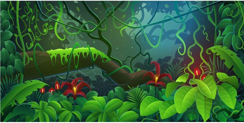 Vinyl 16x10ft Cartoon Jungle Forest Backdrop Enchanted Spring Backgrouds for Photography Magical Children Party Baby Shower Bithday Backdrop Fairytale Theme Party Banner Photobooth