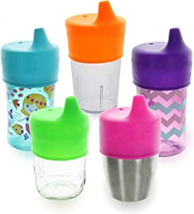 Sippy Cup Lids by Healthy Sprouts - (5 Pack) - Make Any Kids Cup or Toddler Cup Spill Proof - Great for Toddlers, Infants, Babies (Purple, Pink, Green)