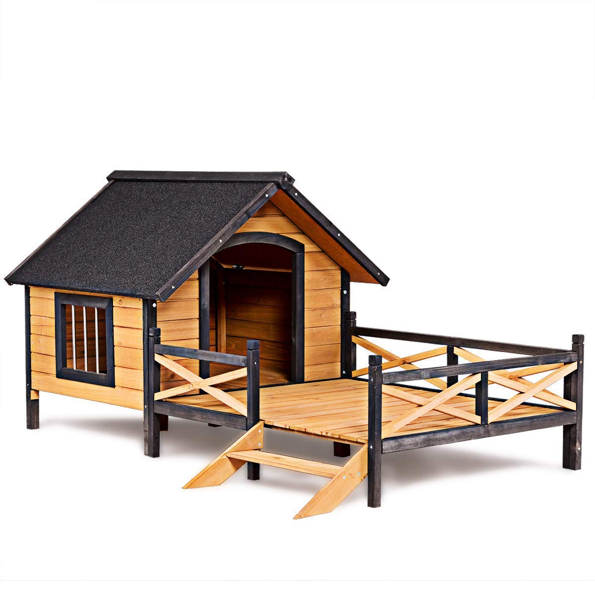 Tangkula Wood Dog House, Cabin Style Large Elevated Weather Waterproof Outdoor Pet Dog House, Lodge with Porch, Spacious Deck for Sunny Nap, Wooden Pet Dog House