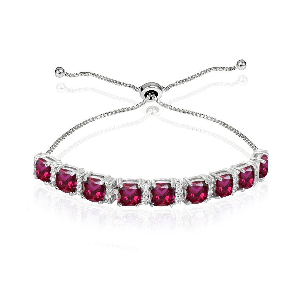 Sterling Silver Created Ruby & White Topaz Cushion-Cut Adjustable Tennis Style Bolo Bracelet for Women Teens Girls