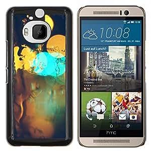 KLONGSHOP // Cubierta de piel con cierre a presión Shell trasero duro de goma Protección Caso - Resumen Bokeh - HTC One M9Plus M9+ M9 Plus //