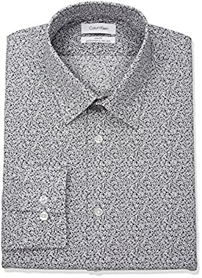 Calvin Klein Men's Non Iron Stretch Slim Fit Print Point Collar Dress Shirt