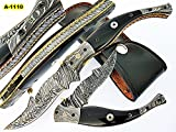 FA-1110, Custom Handmade Damascus Steel Folding Knife – Bull Horn & Three Muzike Pin Handle with Damascus Steel Bolster