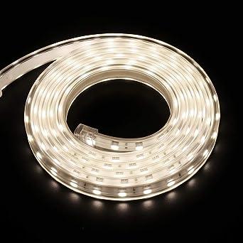 XUNATA 2m 220V Tiras LED, SMD 5050 60LEDs/m, IP67 Impermeable, Escalera de Techo Blancas Tira de LED Cocina Cable Luces LED Blanco Neutro: Amazon.es: Iluminación