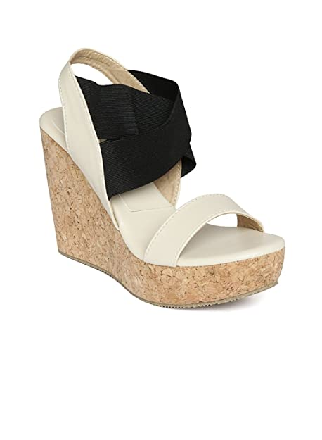WoodBrough White Wedges Heels at Amazon