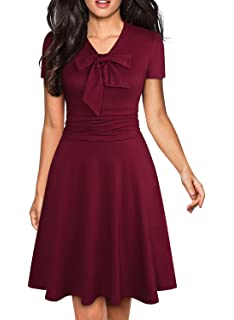 78e6790a12 YATHON Women s Elegant Bow Tie Swing Casual Party Dresses Vintage Ruched  Stretchy A-line Skater