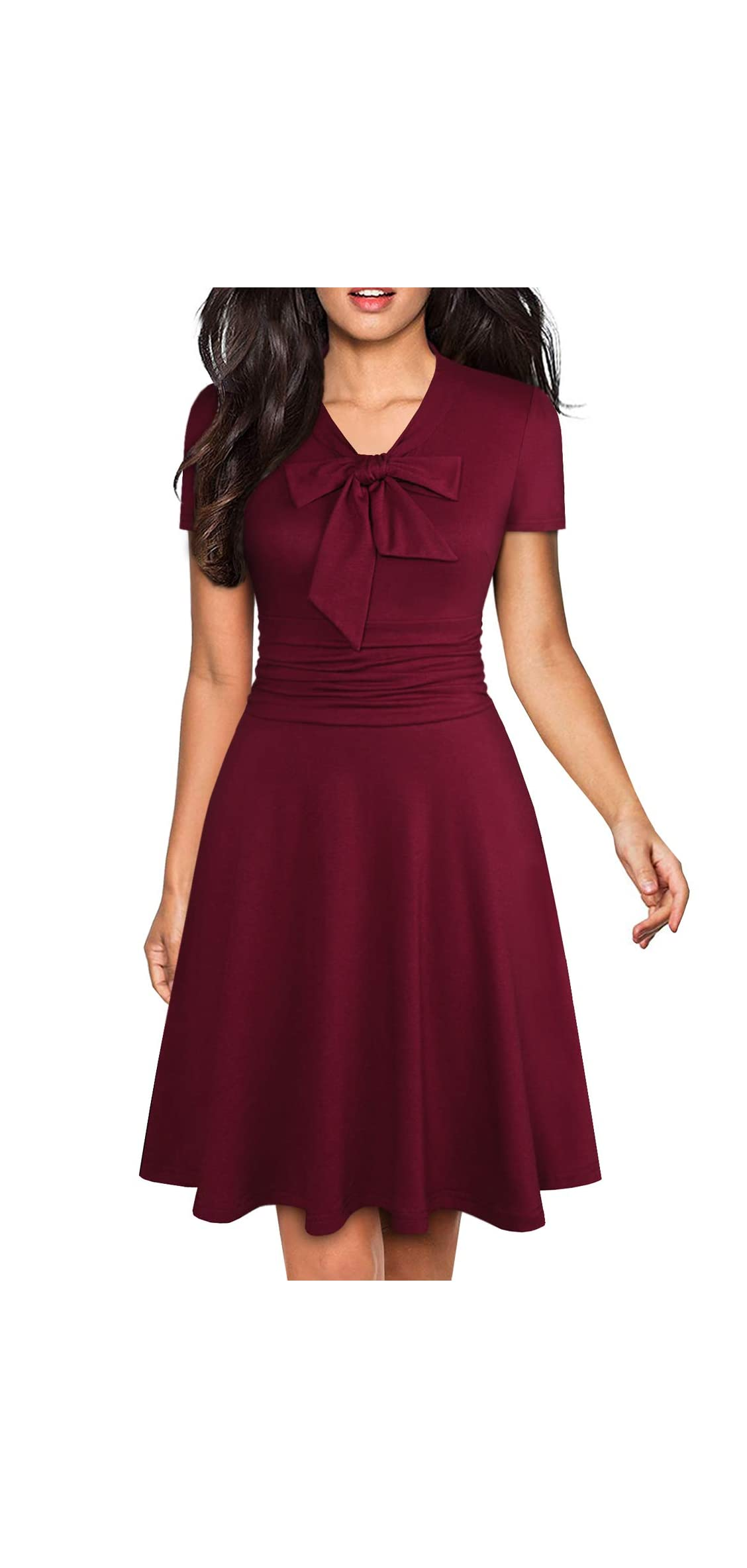 Women's Elegant Bow Tie Swing Casual Party Dresses Ruched