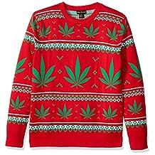 Alex Stevens Men's Marijuana Jacquard Ugly Christmas Sweater, red, Large