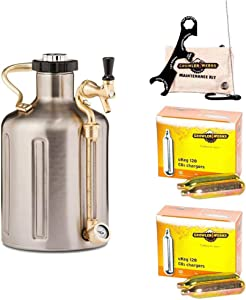GrowlerWerks uKeg Carbonated Growler, 128 oz, Stainless Steel, Maintenance and Cleaning Kit, 2 boxes of 10 16g CO2 chargers