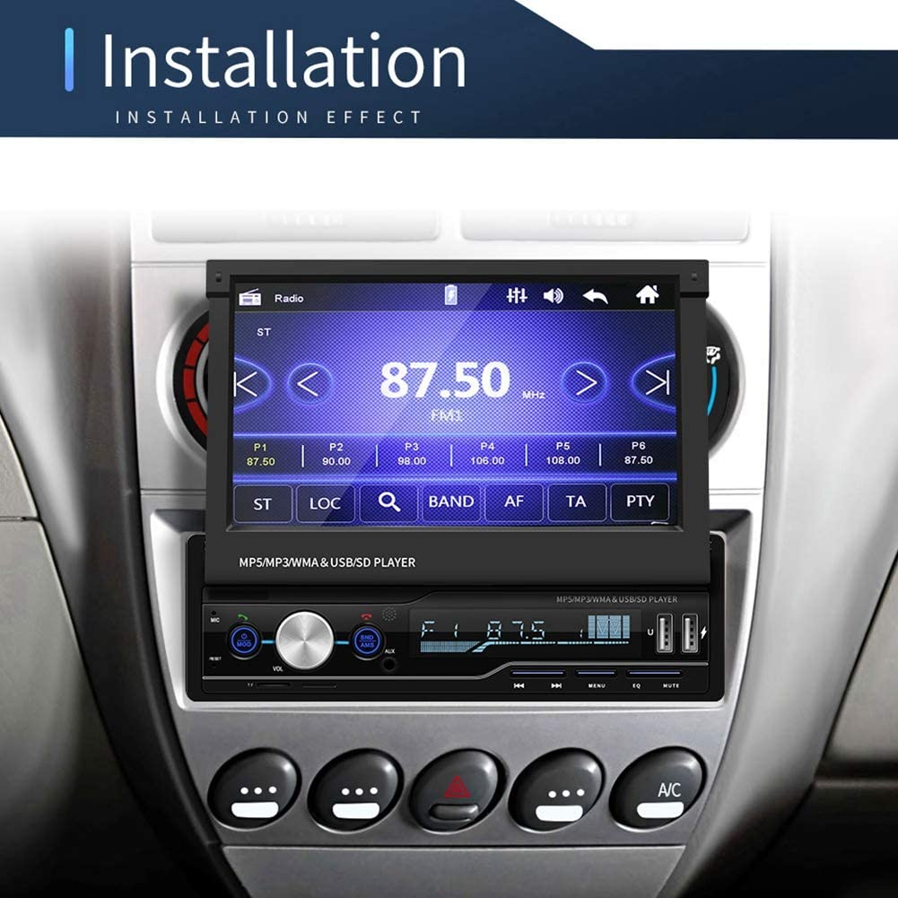 Sanpyl Android System Car Stereo MP5 Player HD 7-inch Large Screen Retractable Car Video Player Touch Screen Radio MP5 Player