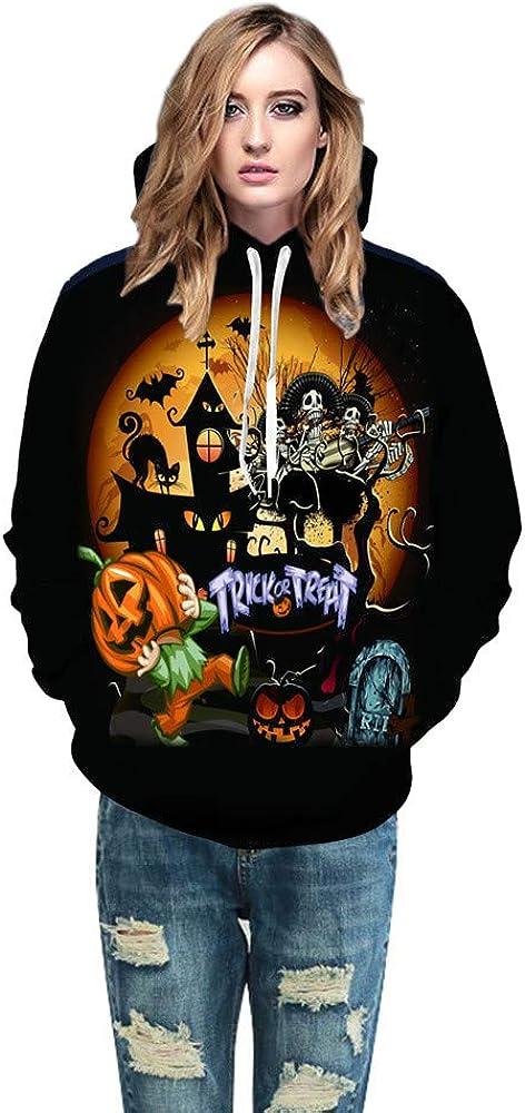 Geetobby Hoodies Sweater Halloween 3D Print Pocket Sweatshirt Cosplay Top Blouse