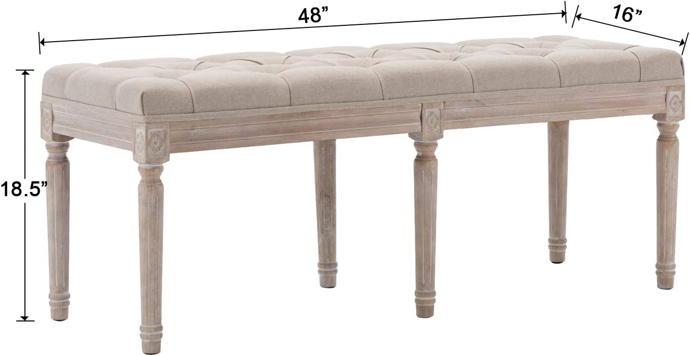 Upholstered French country bench - come discover Hello Lovely Amazon Finds You'll Love! #benches #frenchcountry #furniture #homedecor