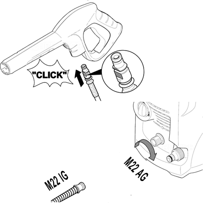 lunghezza a scelta Quick Click su M22 IG 2641706//2641-7060 K7 2.641-706.0//26417060 Tubo ad alta pressione di qualit/à premium per idropulitrice originale K/ärcher K2