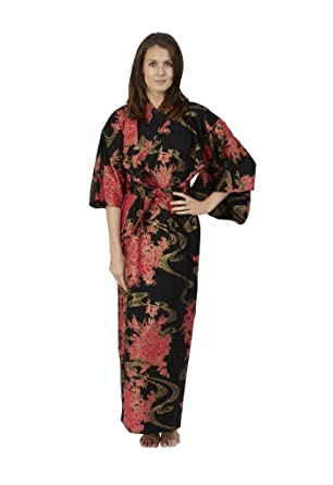 6b7b898790 Beautiful Robes Women s Flowing Cotton Kimono Black Long at Amazon ...