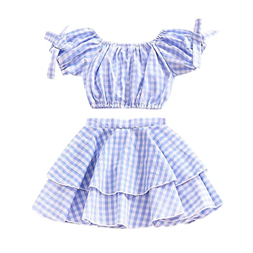 5ecd3c82bc3345 Amazon.com: Girls Off-Shoulder Sets, KaiCran for 0-4 T Kids Summer ...
