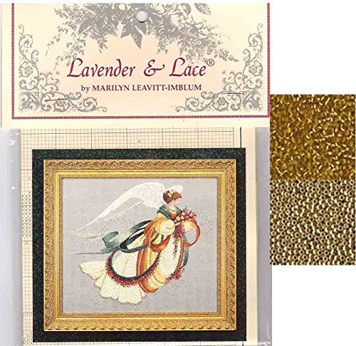 Lavender & Lace Cross Stitch Chart with Mill Hill Bead Set ~ ANGEL OF AUTUMN #30 - Lavender And Lace Cross Stitch