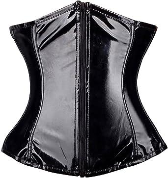 FLORATA 3-5 Days Delivery Women Shiny PVC Underbust Corset Lace up Back Zipper Waist Trainer Bustier