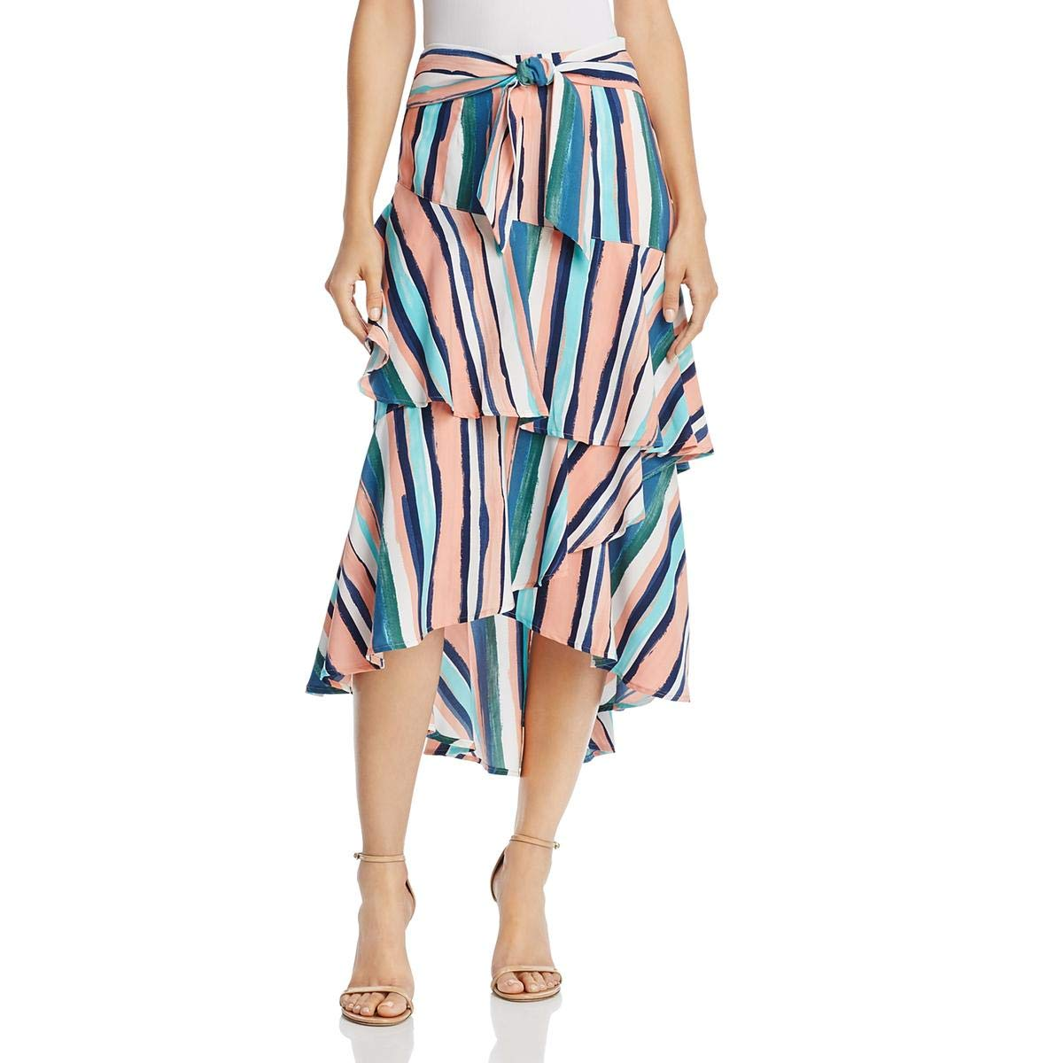 Multi Peach Lost + Wander Womens Santorini Striped ALine Maxi Skirt