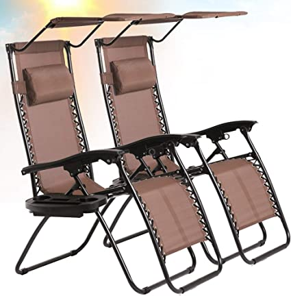 Amazon Com Best Home Product Zero Gravity Chair Set Of 2 Patio Chairs Lounge Chair Outdoor Adjustable Folding Recliner With Canopy Sunshade And Cup Holder Reclining Chairs For Beach Garden Lawn Pool Camping