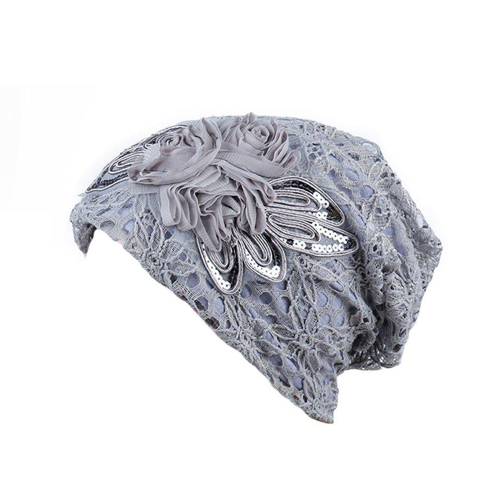 New!! Vovotrade Women Elegant Muslim Hat Vintage Flower Stretch Turban Hat Sequins Lace Hair Loss Head Scarf Wrap