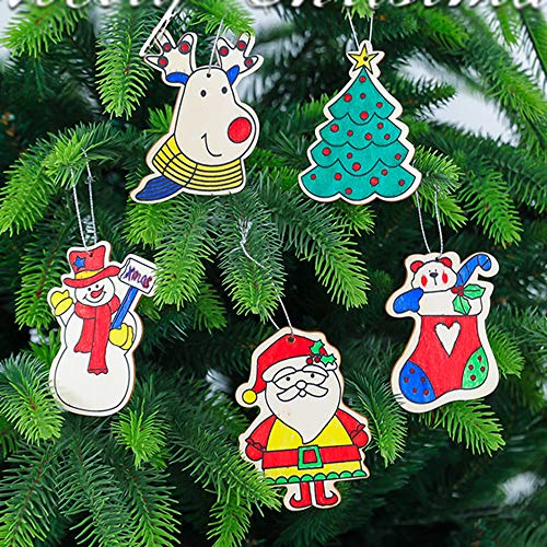 Stillbetter Unfinished Christmas Wooden Ornaments, 5 Style Kids DIY Wood Art Crafts, Paintable Natural Wood Slices with 2x5 Coloured Pens and Ropes for Christmas Xmas Tree Hanging Decoration