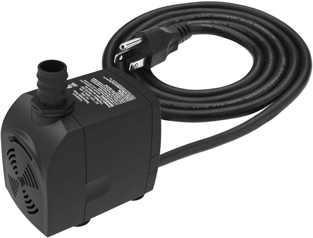 Submersible Water Pump 6.1ft Power Cord 450GPH Ultra Quiet Pump with Dry Burning Protection for Fountains, Hydroponics, Ponds, Statuary, Aquariums & More …