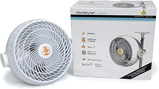 Secret Jardin Monkey Fan Clip 20w 30w Grow Tent Pole Clip on Fan